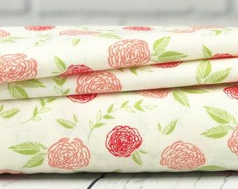 Coral Roses Fabric - Creekside Fabric - Sherri & Chelsi - Moda Fabric - Roses Fabric - Sold by Half Yard
