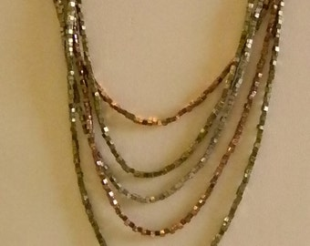 Premier Design Layered Multi Strand Metallic Beaded Necklace