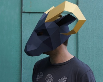Ram Mask - Build your own low poly mask with this PDF download