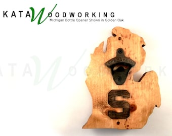 "Michigan Shaped Wall-Mount Bottle Opener with Block ""S"" - Handmade"