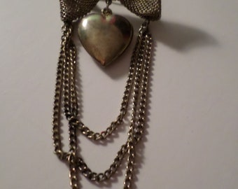 Vintage 1960's Broach Pin Heart Shape Three Tier Chain Dangle Mess Bow Tie