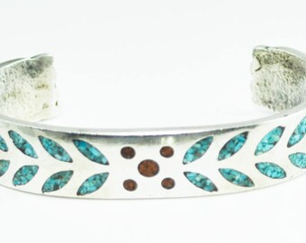 Heavy Sterling Silver Turquoise Coral Inlay Bangle Cuff 13mm Bracelet 6""