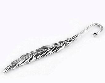 2 Feather Antique Silver Bookmarks Blanks DIY Beading 117mm (014)