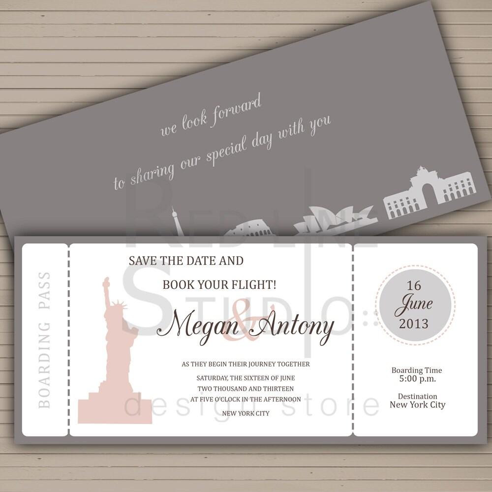 Famoso Invito matrimonio save the date biglietto aereo file da TE41