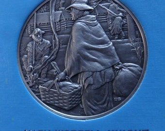DAR The Great Women of the American Revolution-Knight, Langston, Lewis— Fine Pewter Medals-Franklin Mint-1974-Mother's Day
