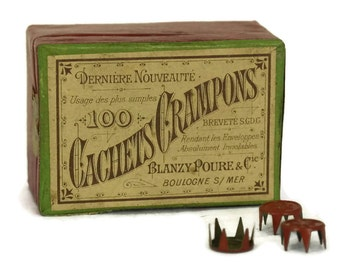Envelope Seal Push Pin Tacks. Antique French Office Supplies. Box set of Cachets Crampons by Blanzy Poure Gilbert.