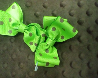Butterfly Divabow green with brown polka dots