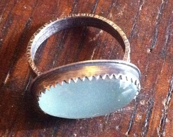 Sterling Silver and Aquamarine Cabochon Ring