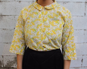 1960s vintage yellow floral top