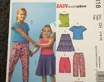 McCalls Girls  Tops Skirts Shorts and Capri Pants Sewings Pattern M4816 UC Uncut FF Size 7 8 10