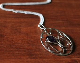 Amethyst and Silver Oval Filigree Pendant