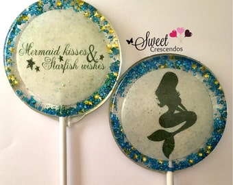 Mermaid Lollipops- Party Favors-Hard Candy Lollipops -Candy- Wedding favors- Bridal shower favors- Baby Shower- Under the sea