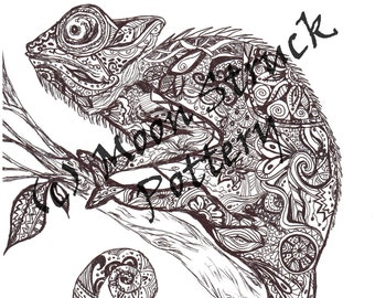 Animal Coloring Page Iguana Adult Printable Sheet Digital Download From A Very Zen Thing