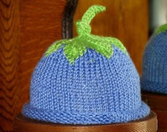 Hat, Blue, Blueberry, Newborn Knit Hat, Knit, Infant Knit Hat, Baby Hat, Beanie, Fruit Hat, Newborn Fruit Hat, Baby Beanie,baby shower