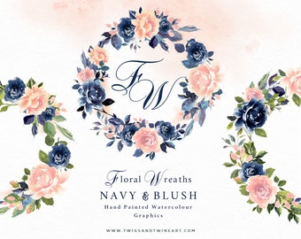 Floral Wreaths - Navy & Blush hand painted watercolor flower clipart, rose arrangements ready to go.