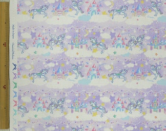 2018 Classical and Modern Japanese Fabric  / Unicorn Castle Lavender - 50cm x 110cm