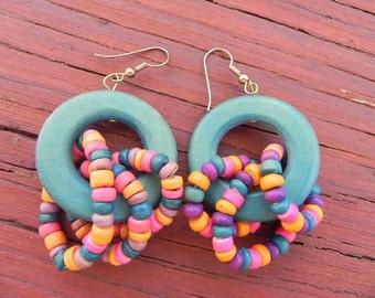 Blue/Green Hippie Wooden Dangle Earrings