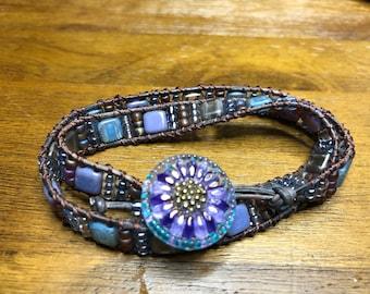 Purple, Tan and Blue Leather Wrap Bracelet