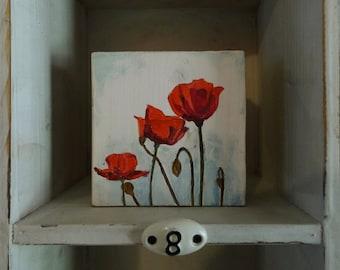 Original Poppy Painting on Wood