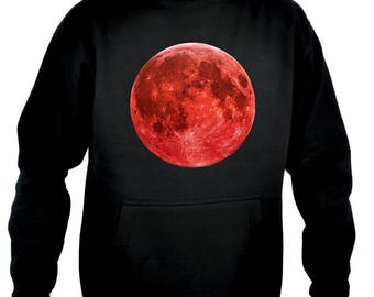 Blood Red Full Moon Pullover Hoodie Sweatshirt Lunar Eclipse - MHD-DYS076