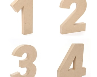 "Giant Paper Mache Numbers 12"" High - Choose from 0 1 2 3 4 5 6 7 8 9 - These Cardboard Numbers are a full foot tall!"