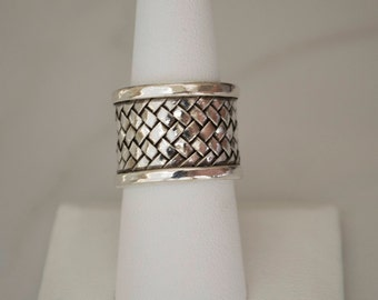 Sterling Silver Ring for Women, Sterling Silver Cuff Ring, Basket weave Design, Adjustable Sterling Silver Ring, Boho Ring, Wide Band Ring