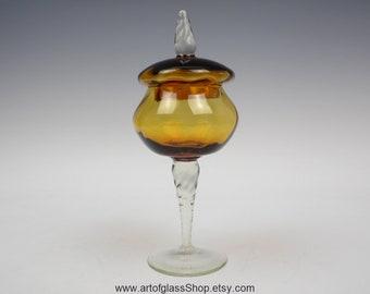 Amber pedestal glass candy jar/trinket box