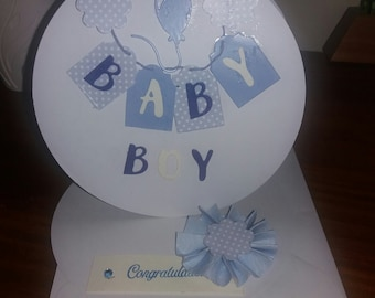 Handmade Round Easel Baby Boy card - New Baby
