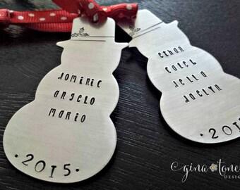 Personalized Ornament, Family Ornament, Snowman Ornament, Gift Tag, Family Gifts, Personalized Hostess Gift Ideas, 2018 Ornament
