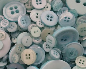 Light Teal Buttons - Sewing Button Teal Light Aqua Sky Blue- 100 Assorted Buttons - Blue Skies