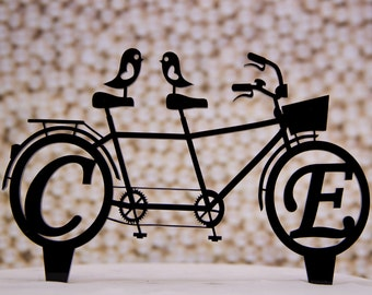 Personalized Wedding Cake Topper Bicycle for Two with Your Initials - Bike for two cake topper - Initials cake topper -  bike for two topper