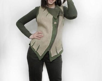 "Vest ""asymmetry"".eco, natural, woolen, felt.Love, fashion, Beautiful, Gift, Handmade,Ivory, Clothing.Vest.Vest felt.felting.Vest for ladies."
