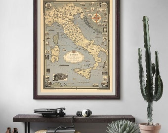 Italy with Vatican City Map 1935, Vatican City Map, Italy Map, Map Wall Art, Vintage Map- CP035
