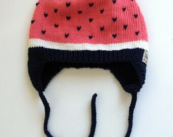"Knitted baby girl and toddler hat ""Very Berry"" / Hat for girls/ Handmade hat for girls"
