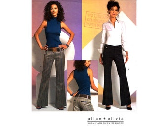 06 Vogue American Designer 2907 Alice + Olivia Flared Pants with Waist Yokes & Front Pockets, U/C, Factory Folded Sewing Pattern Size 10-14