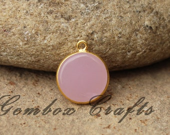 Rose Hydro Quartz 16mm Round Both Side Flat Smooth 925 Sterling Silver Gold Plated Bezel Pendant
