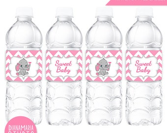 Bottle Labels Elephant Pink - Girl Baby Shower printable water bottle labels - Baby Girl Party - INSTANT DOWNLOAD