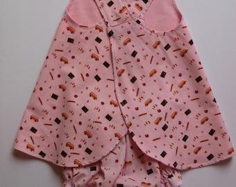Little Girl's Pink Sundress, Beach Dress, Pinafore, Matching Bloomers, Reversible, Size 12 month