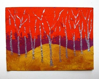 "Twilight Woods #167 (ARTIST TRADING CARDS) 2.5"" x 3.5"" by Mike Kraus"