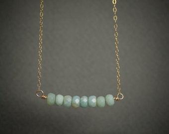 Amazonite necklace, amazonite gemstone necklace, bar necklace, dainty necklace, gold bar necklace, simple necklace, gift under 50.