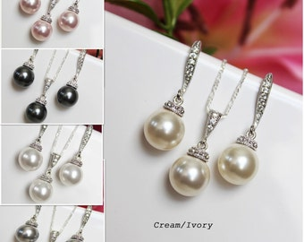 Pearl Drop Pendant and Pearl Drop Earrings Bridal Jewelry Set, Wedding Jewelry Set, Bridesmaids Jewelry Set, Bridal Accessories, Jewelry Set