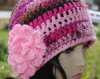 Handmade Crochet, Flapper, Bucket, Cloche Hat 22 to 24 inch Multi color