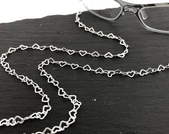 925 Silver Heart Eyeglass Chain, Eyeglass Necklace, Eyeglass Lanyard, Eyeglass Holder, Eyeglass Leash, Gift For Her, Mom Gift, EC014