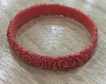Vintage Coral Celluloid Bracelet -1930s or 1940s