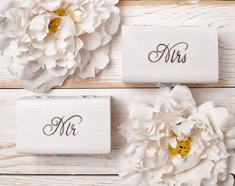 Mr and Mrs Ring Box Pillow Set Engraved Wedding Ring Box Wooden Ring Box Wedding Gift Ring Bearer Box Wooden Box Bridal Shower Gift White