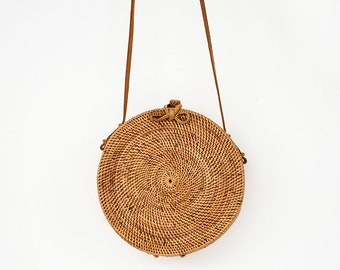 EXTRA LARGE 25cm Round Rattan Bag  Leather Crossbody Sling Personalized Floral Pompom Customised Personalised Travel Luxury Ata Brown Ribbon