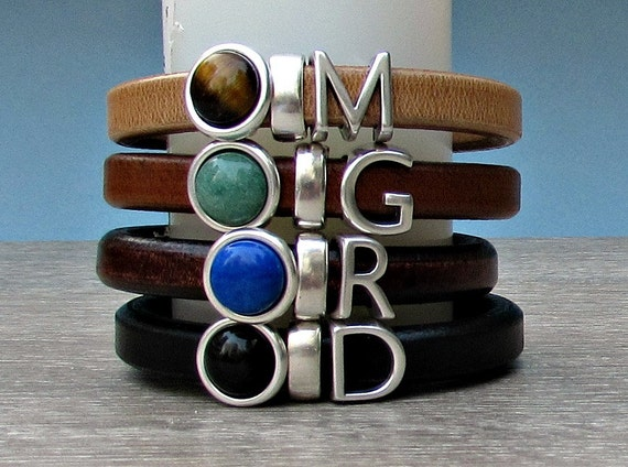 Personalized Mens Initial Leather Bracelet Mens Silver Bracelet Mens  Gemstone Bracelet customized to your wrist