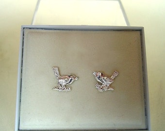 One Pair of ROBIN  Sterling Silver , or 9ct gold  STUD EARRINGS