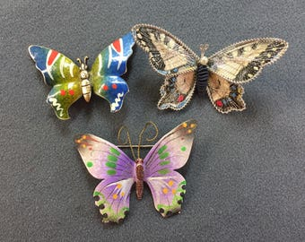 Three Vintage Butterfly Brooches. Free shipping