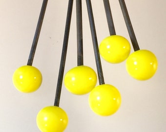 6 Lampwork head pins in a bright lemon yellow color